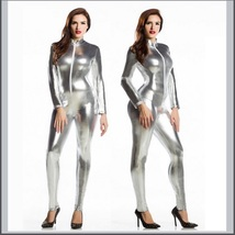 Silver Metallic Long Sleeve Wet Look Faux PU Leather Front Zip Jumpsuit Catsuit