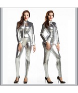 Silver Metallic Long Sleeve Wet Look Faux PU Leather Front Zip Jumpsuit ... - $72.95