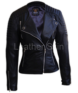 Leather Skin Women Black Brando Quilted Genuine Leather Jacket - $179.99