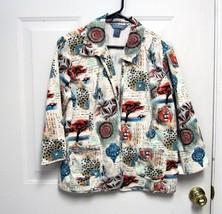 New Sz L City Blues by Koret Womens Jungle Design Cotton Jacket or Cover... - $8.99