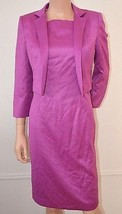 ANNE KLEIN Purple Day Evening Cocktail Party Dress w Jacket sz 4 Small S... - $46.51