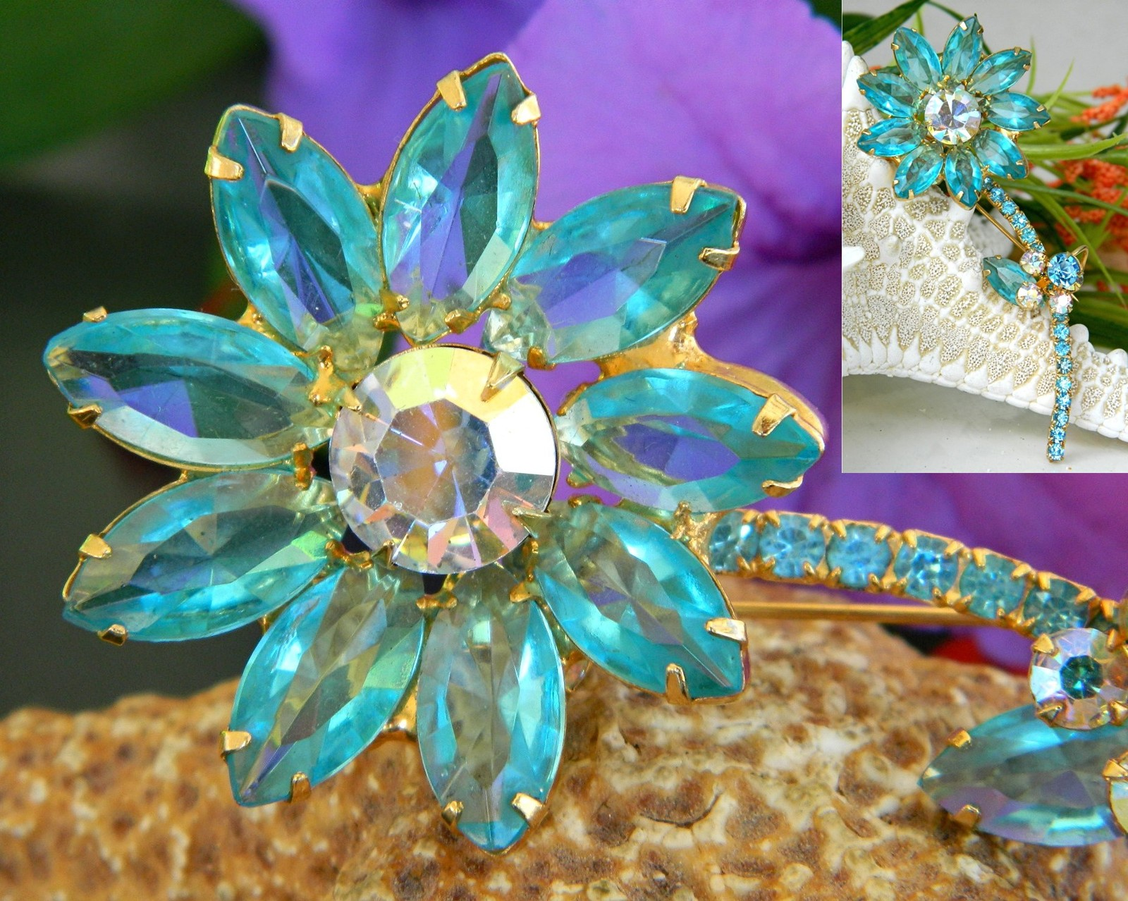 Vintage Juliana Rhinestone Long Stem Flower Pin Brooch Aqua Unsigned
