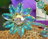 Vintage juliana rhinestone long stem flower pin brooch aqua unsigned thumb155 crop