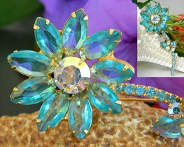 Vintage juliana rhinestone long stem flower pin brooch aqua unsigned thumb200