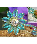 Vintage Juliana Rhinestone Long Stem Flower Pin Brooch Aqua Unsigned - $57.95