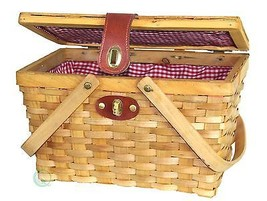 New Vintiquewise Large Gingham Lined Wood Picnic Basket, QI003148 - $25.99