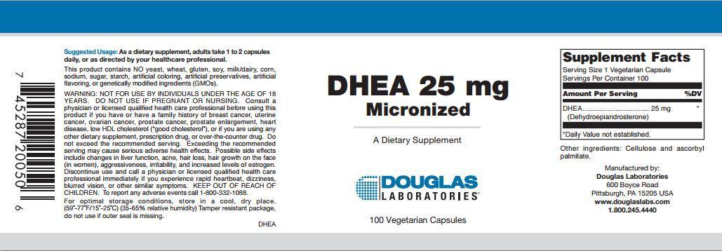 DHEA - 25 mg, 100 Capsules (Micronized)