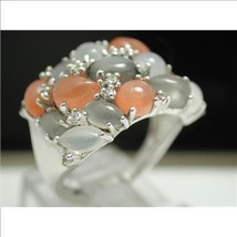 925 Sterling Silver & 18k White Gold, White Sapphire, Grey & Orange Moon... - $50.00