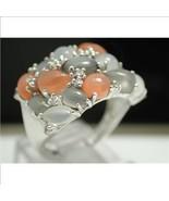 925 Sterling Silver & 18k White Gold, White Sapphire, Grey & Orange Moon... - $50.00