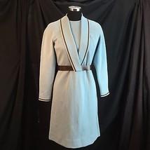 R&K Knits Orig 1970s Shawl Collar Knit Sweater Dress Blue Brown Belt ILG... - $41.58