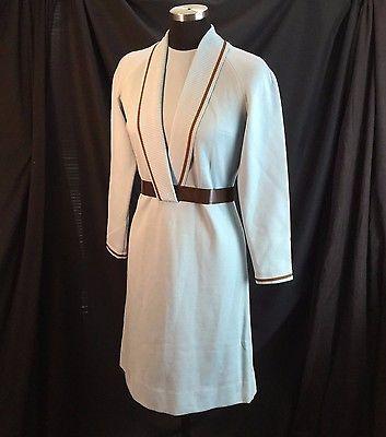 R&K Knits Orig 1970s Shawl Collar Knit Sweater Dress Blue Brown Belt ILGWU USA S