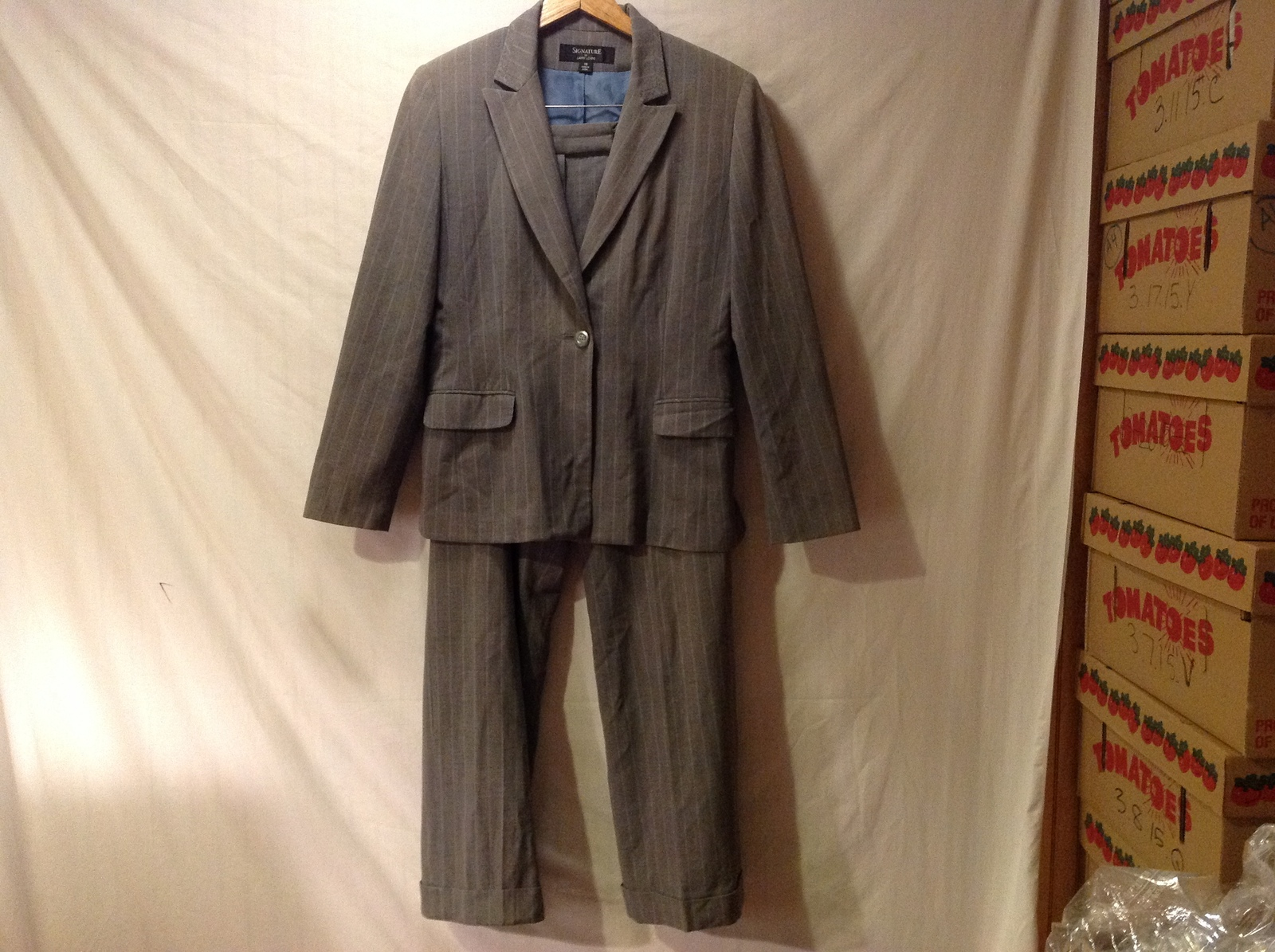 Signature by Larry Levine Womens Two piece Gray suit with Light Blue Pinstripes,