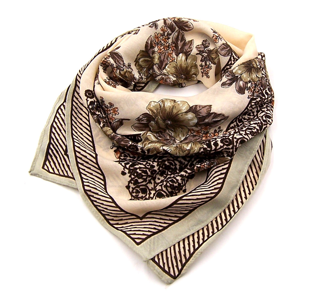 Women new coffee beige floral border print square scarf