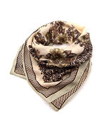 Women new coffee beige floral border print square scarf - $20.00