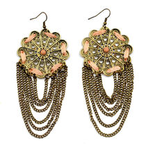 Gorgeous large bronze lace flower cut out hanging chain drop pierced ear... - $24.36 CAD