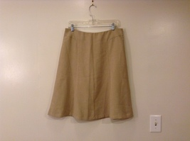 New York & Company Beige A-line 100% polyester Skirt, size 12 unlined no pockets