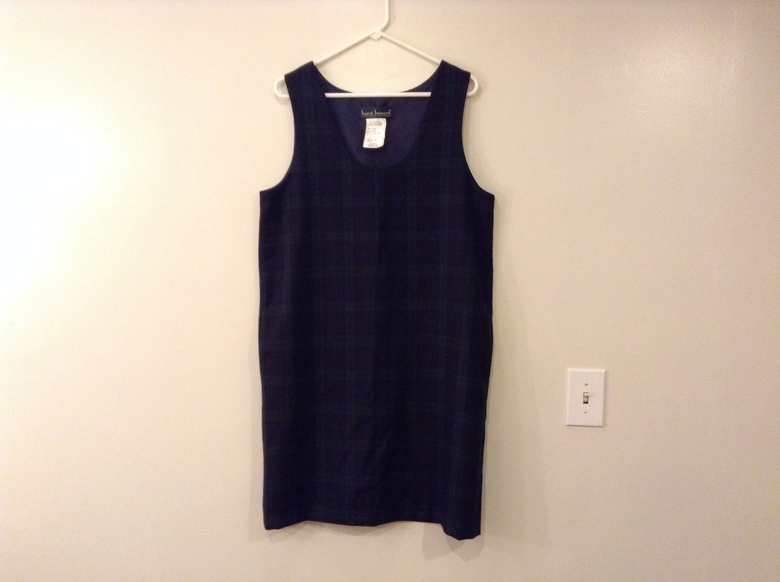 Harve Benard by Benard Holtzman Sleeveless Navy Blue Plaid Wool Dress, size 10