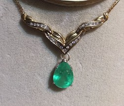 New Estate 7.6 Ct Natural Colombian Emerald & diamond 14k gold drop neck... - $5,999.99