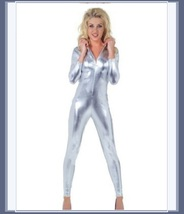 Silver Metallic Long Sleeve Wet Look Faux PU Leather Front Zip Jumpsuit Catsuit  image 2