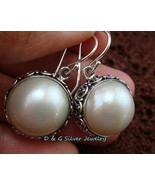 Bali Design Freshwater Mabe Pearl Sterling Silver Earrings  ER-651-DG - $35.50