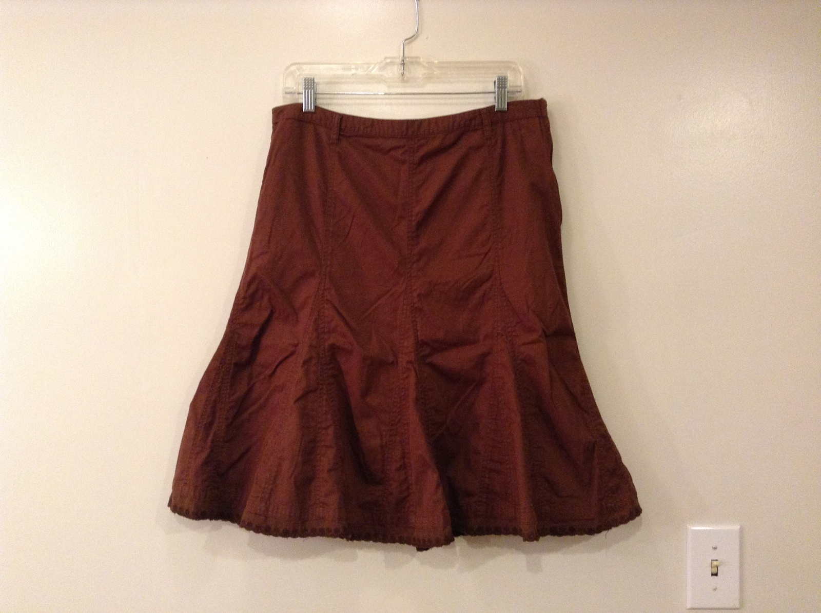 French Cuff Brown 100% Cotton Unlined A-Line Skirt, size 12 with embroidery lace