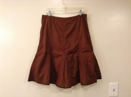 French Cuff Brown 100% Cotton Unlined A-Line Skirt, size 12 with embroidery lace image 2