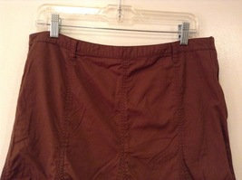 French Cuff Brown 100% Cotton Unlined A-Line Skirt, size 12 with embroidery lace image 3