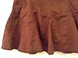 French Cuff Brown 100% Cotton Unlined A-Line Skirt, size 12 with embroidery lace image 4