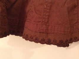 French Cuff Brown 100% Cotton Unlined A-Line Skirt, size 12 with embroidery lace image 5