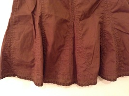 French Cuff Brown 100% Cotton Unlined A-Line Skirt, size 12 with embroidery lace image 7