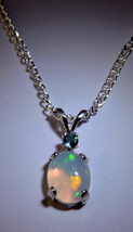Lovely Ethiopian Welo Opal & Blue Tourmaline Silver Pendant  Necklace - $66.00