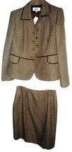 2 Pc Le Suit Brown and Cream Pattern Skirt Suit... - $69.99