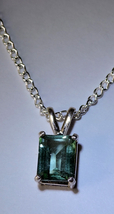 Green Amethyst Silver Pendant  Necklace - $25.00