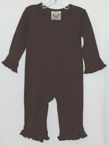 Blanks Boutique Long Sleeve Brown Snap Up Ruffled Romper 12 months