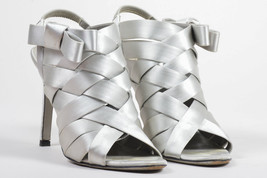Valentino  Gray Woven Satin Open Toe Bow Embellished Pumps SZ 38 - $260.00