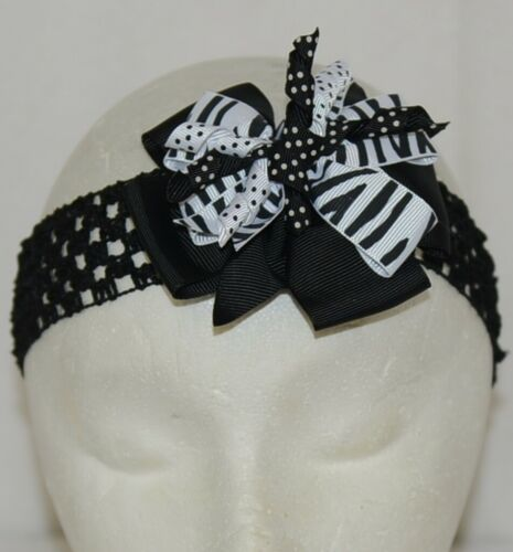 Unbranded Girl Infant Toddler Headband Removable Hair Bow Black White