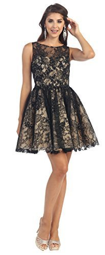 Sleeveless Applique Sequin Mesh Dress #1150 (18, Black)