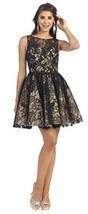 Sleeveless Applique Sequin Mesh Dress #1150 (18, Black) - $128.69