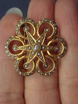 RARE Antique Victorian Starburst Seed Pearl 9k Gold Pin 6g - $249.00