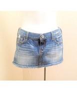 Hollister 1 Skirt Blue Denim Distressed Micro Mini Fringe - $13.70