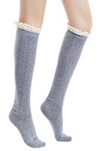 ICONOFLASH Women's Diamond Pattern Knee High Boot Socks, Grey - $15.83
