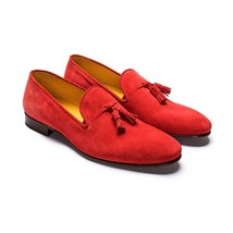 Handmade Men's Red Suede Slip Ons Loafer Tassel Shoes image 1