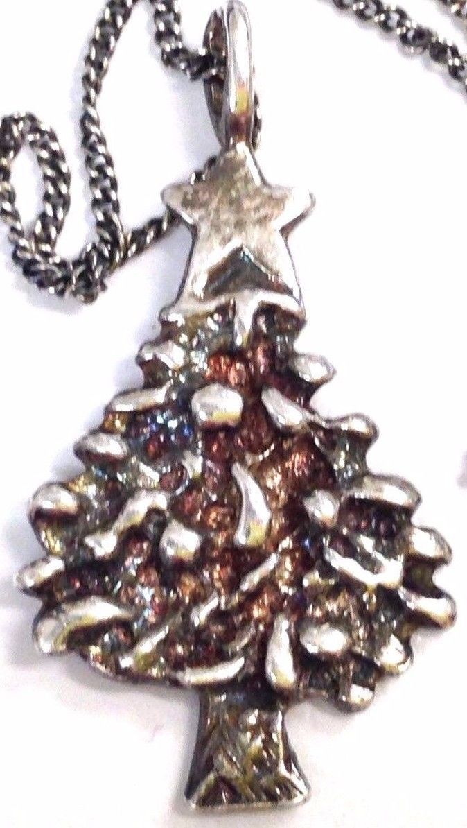 Vintage sterling silver christmas tree pendant necklace for Sterling silver christmas jewelry