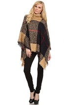 Women's Plaid Knit Fashion Sweater Poncho, Tan Tartan - $44.54