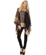 Women's Plaid Knit Fashion Sweater Poncho, Tan Tartan - $44.54