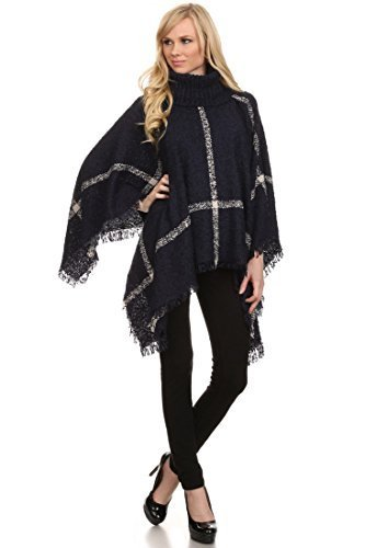 Primary image for Women's Plaid Turtleneck Chenille Knit Poncho Sweater, Deep Navy