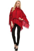 ICONOFLASH Women's Plaid Turtleneck Chenille Knit Poncho Sweater, Festiv... - $39.59