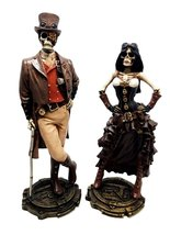 STEAMPUNK DETECTIVE AND OFFICER COUPLE SCULPTURE FIGURINE SKELETON HALLO... - $49.48