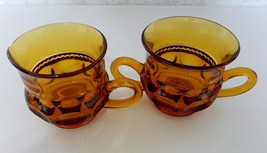 Kings Crown Thumb Print Amber Open Sugar Bowl and Creamer Indiana Glass  - $16.78