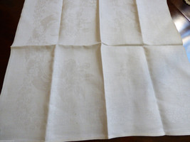 VTG White Jaquard Linen Cotton Elegant Dining Napkin 22x20 Forget-me-notes - $17.82